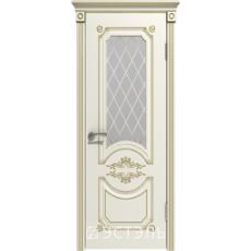 Дверное полотно 42ДО01№800*2000 патина золото стекло белое (Ю)