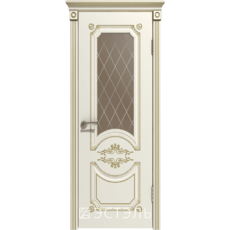 Дверное полотно 42ДО1№800х2000 патина золото стекло бронза (Ю)
