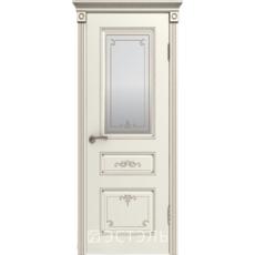Дверное полотно 44ДГ01№800*2000 пат.капучино стекло сат.бел.с печатью золот. (Ю)