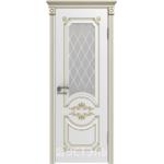 Дверное полотно 42ДО0№800х2000 патина золото стекло белое(Ю)