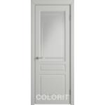 Дверное полотно К2ДО02№800*2000 стекло бел.сат.с гравир.полос. (56Ю)