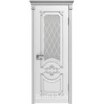 Дверное полотно 42ДО0№800*2000 патина серебро стекло белое (Ю)
