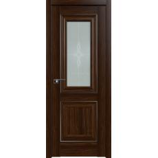 Дверь Орех Амари №28 Х стекло узор 2000*800 серебро