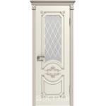 Дверное полотно 42ДО01№800*2000 патина капучино стекло белое (Ю)